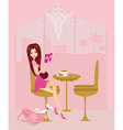 young woman reading book in coffee break vector image