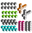 house music party cubic square fonts vector image