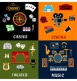 Casino music cinema and theater icons vector image