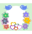 a cute forest bird and home flowers vector image