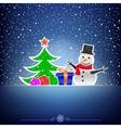 Christmas dark snow blue card vector image