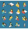 Education reading isometric icons set vector image