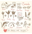 Set drawings of cereals for design menus recipes vector image