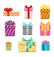 Set of gift box flat style vector image