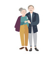 smiling old man standing beside elderly woman vector image