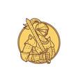 Knight Sword On Shoulder Circle Mono Line vector image