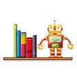 A wooden shelf with a robot and books vector image