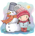cute girl and snowman vector image