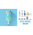 Flat style cocktail blue hawaii menu design vector image