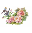 Watercolor wild exotic birds on flowers vector image