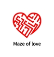Maze of love red sign on white vector image