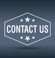 contact us hexagonal white vintage retro style vector image