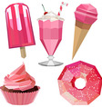 Sweet delicious icons of pink desserts vector image vector image