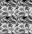 Black and white pattern in 80s style with doodles vector image