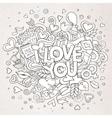 Cartoon hand drawn Doodle I Love You vector image