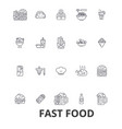 fast food restaurant pizza hamburger burger vector image