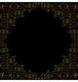Golden floral frame on black background vector image