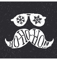 Santa vintage sunglasses and moustache With vector image