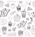 Seamless cartoon pattern with fast food Cartoon vector image