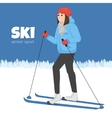 The young animation girl skis Winter sport vector image