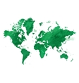 watercolor green map of the world with a vector image