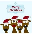 deers with red santa hat vector image