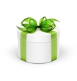 White Round Gift Box with Light Green Ribbon and vector image