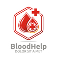 Logo Blood Help Hexagon Donors Healthy Symbol vector image