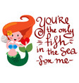 funny mermaid with shall and heart in hands vector image