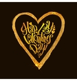 Happy Valentines Day Golden heart with vector image