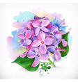 Lilac flowers watercolor painting mesh vector image