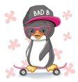 Penguin with skateboard vector image