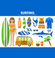 surfing sport equipment surfer surfboard garment vector image