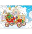 Santa driving a car with gifts vector image vector image