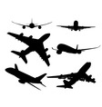 black silhouettes of passenger aircraft vector image