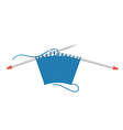 knitting pattern and needles vector image
