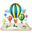 Children traveling by balloon vector image