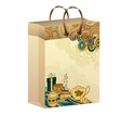 Art shopping paper bag with breakfast tea pattern vector image