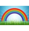 Bright rainbow blue sky with rising sun and green vector image