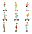 People Riding Electric Self-Balancing Batery vector image