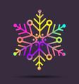rainbow christmas holographic snowflake vector image