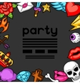 Party invitation with retro tattoo symbols vector image