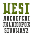 Narrow serif font in retro style vector image