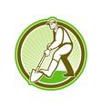 Gardener Landscaper Digging Shovel Circle vector image