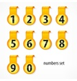 Yellow round numbers on vector image