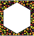 Fruits frame made with different fruits over dark vector image
