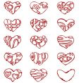 icons of hearts vector image