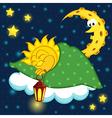sun sleeping on cloud vector image