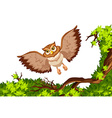 Owl flying over the tree vector image