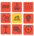 set of 9 transportation icons includes airport vector image
